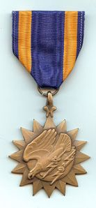 Air Medal The Air Medal is awarded to any person who, while serving in any capacity in or with the Armed Forces of the United States, shall have distinguished himself/herself by meritorious achievement while participating in aerial flight. When Dad served, airmen were awarded the medal after 5 missions.  Photo credit: American Heroes Museum.