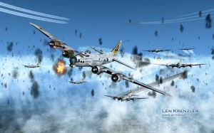 """""""Wing and a Prayer"""" Artwork by Len Krenzler.  Used with permission. Ever wonder what it was like to fly into a flak barrage?  This artist's rendition of an air raid over Frankfurt, Germany shows just how heavy the flak barrage could be.  I found this image online while searching for a nice flak barrage photo and, while there are many out there from the War, this one caught my eye for 2 reasons: it is nice and the plane depicted is a Triangle K!  This is """"Little Lovely"""", piloted by Robert Cardwell, 379th BG, 525th Squadron. You can read more about this image here."""